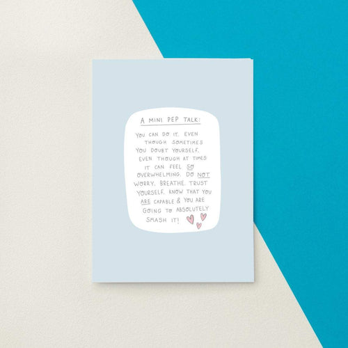 A Mini Pep Talk Greetings Card by Jess Rachel Sharp