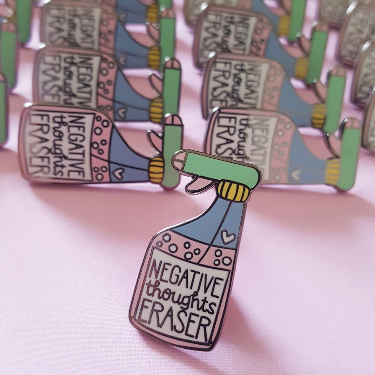 Negative Thoughts Eraser Enamel Pin