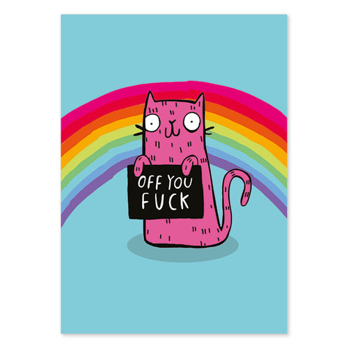 Off You F*ck Sweary Postcard by Katie Abey - Postcards - Spiffy