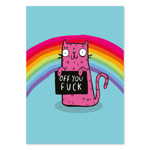 Off You F*ck Sweary Postcard by Katie Abey
