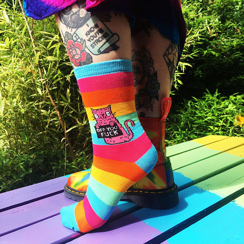 Off You F*ck Cat Socks by Katie Abey - Socks - Spiffy