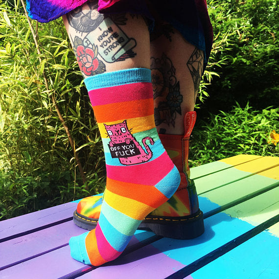 Off You F*ck Cat Socks by Katie Abey