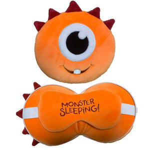 Resteazzz Cutiemals Travel Pillow and Eye Mask - Orange Monster - Spiffy