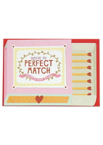 """You're My Perfect Match"" Valentines Card - Cards - Love and Romance - Spiffy"