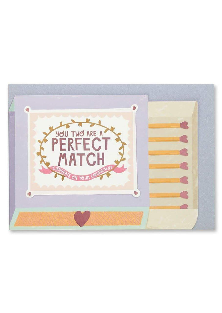 """You Two Are A Perfect Match"" Engagement Card - Spiffy"
