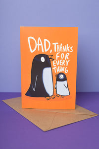 "Penguin ""Dad, thanks for everything"" Thank You Card by Katie Abey"
