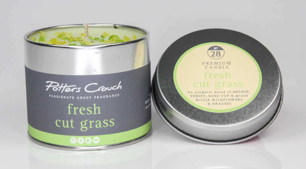 Potters Crouch Fresh Cut Grass Luxury Fragranced Candle Tin - Candles - Spiffy