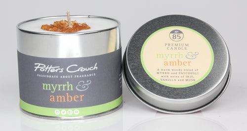 Potters Crouch Myrrh and Amber Luxury Fragranced Candle Tin
