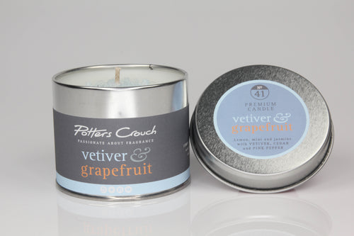 Potters Crouch Vetiver and Grapefruit Luxury Fragranced Candle Tin
