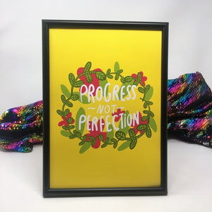 Progress not Perfection A4 Print by Katie Abey