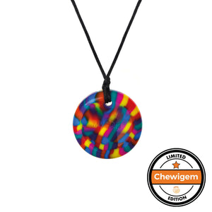 Rainbow Button Necklace -  Chewable Sensory Jewellery