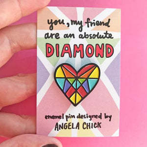 Rainbow Diamond Heart Enamel Pin by Angela Chick - Spiffy