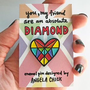 Rainbow Diamond Heart Enamel Pin by Angela Chick - Enamel Pins - Spiffy