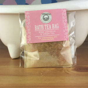 Rose Geranium and Green Tea - Bath Tea Bag by Wild Olive - Spiffy