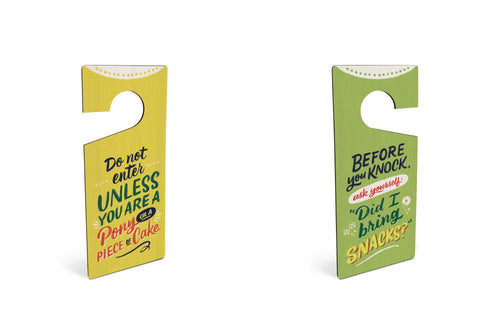 Snacks/Pony Bamboo Door Hanger - Door Hangers - Spiffy