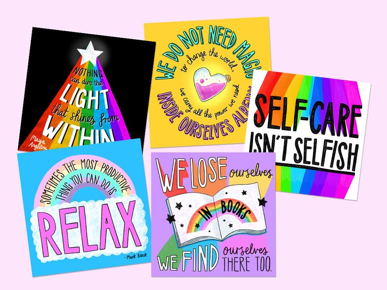 Self Care Square Postcard Pack - Spiffy