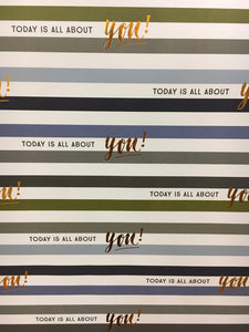 Sheet Wrap - Today is all about you Blue - Wrapping Paper - Spiffy