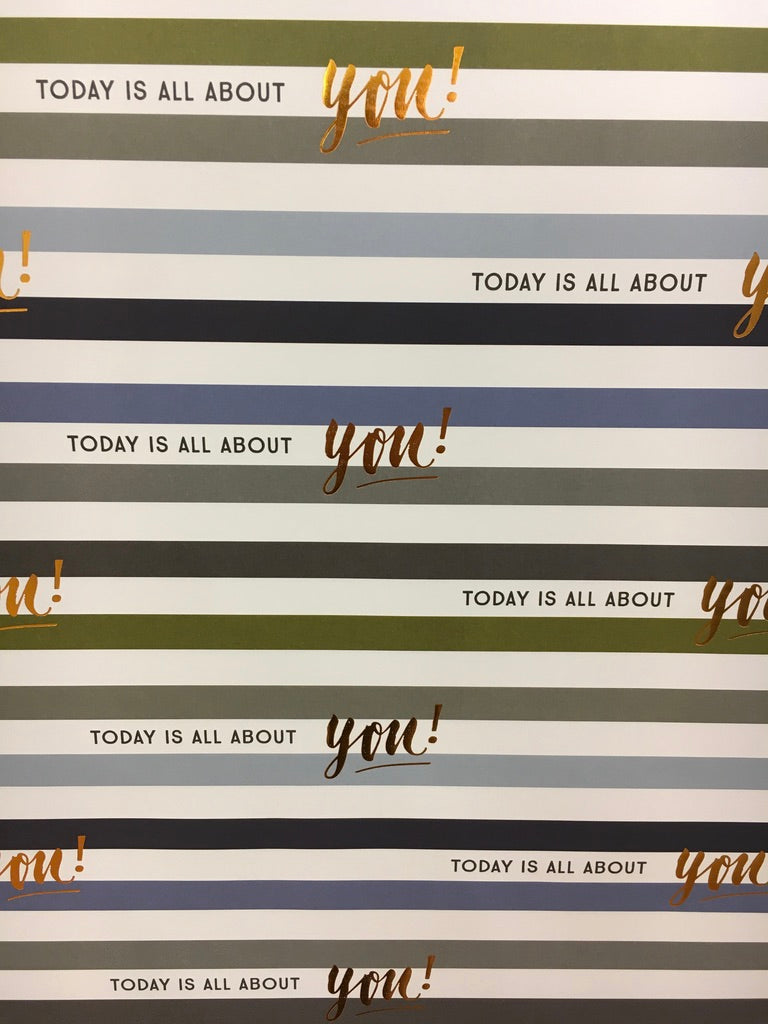 Flat Wrap Wrapping Paper Blue Stripe Today Is All About You