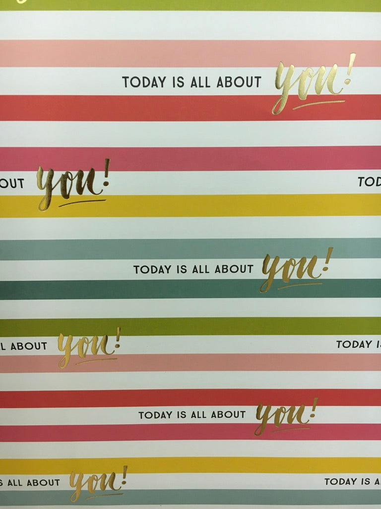 Flat Wrap Wrapping Paper Pink Stripe Today Is All About You