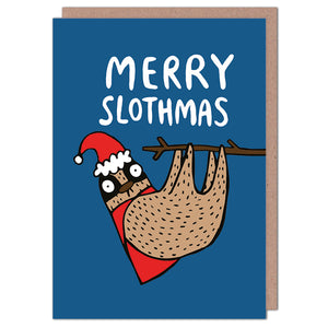 Merry Slothmas - Christmas Card by Katie Abey
