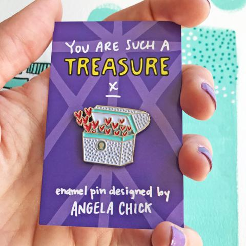 You Are Such a Treasure Enamel Pin by Angela Chick - Spiffy