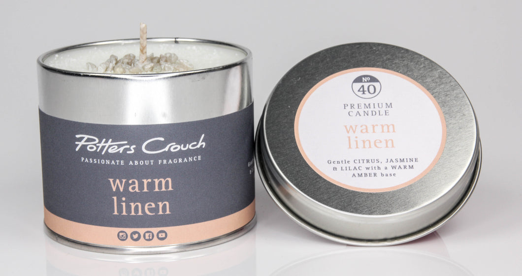 Potters Crouch Warm Linen Luxury Fragranced Candle Tin