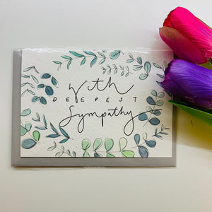 """With Deepest Sympathy"" Floral Handlettering Sympathy Card Card - Cards - Sympathy - Spiffy"