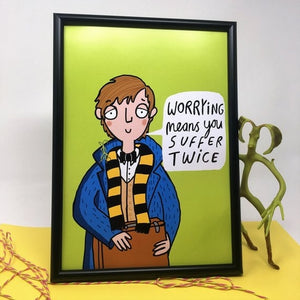 Worrying Means You Suffer Twice A4 Print by Katie Abey