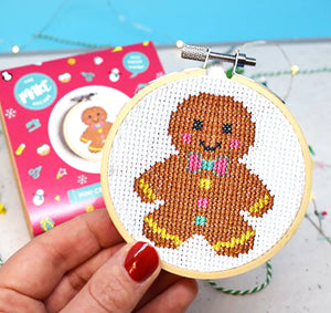 Georgie Gingerbread Mini Cross Stitch Kit - Christmas Cross Stitch Kits - Spiffy