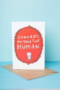 Congrats on Your Tiny Human - New Baby Card by Katie Abey - Cards - New Baby - Spiffy