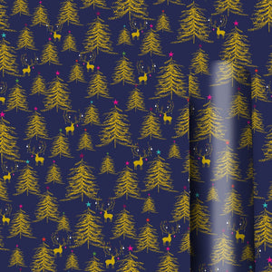 Gold Tree and Deer on Navy Christmas Wrap 3m - Roll Wrap Wrapping Paper by Caroline Gardner - Roll Wrap Collections - Spiffy