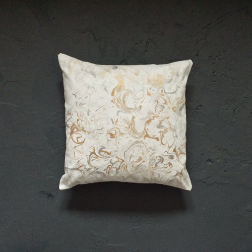 Gold & Silver Marbled White Cushion - Cushions - Spiffy