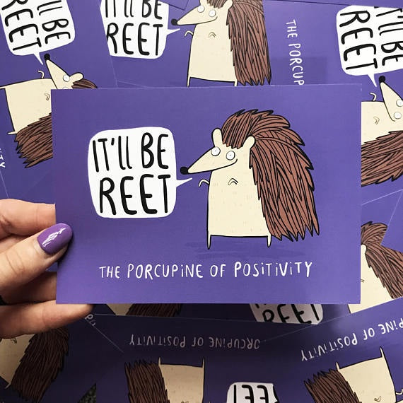 The Porcupine of Positivity - A6 Postcard by Katie Abey