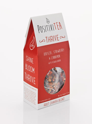 Positivitea Thrive Tea Bags - Hibiscus, Strawberry & Cinnamon With Ashwagandha - Spiffy