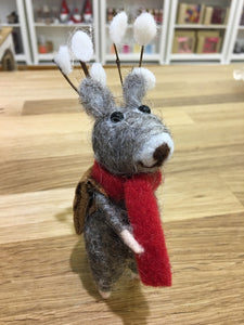 Christmas Reindeer with Satchel Bag Wool Decoration - Christmas Standing Decorations - Spiffy