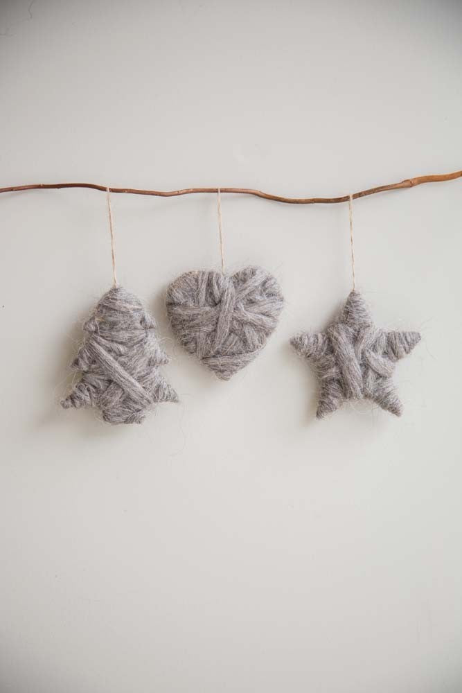 Set of 3 wool decorations (star, heart & tree) - Christmas - Spiffy