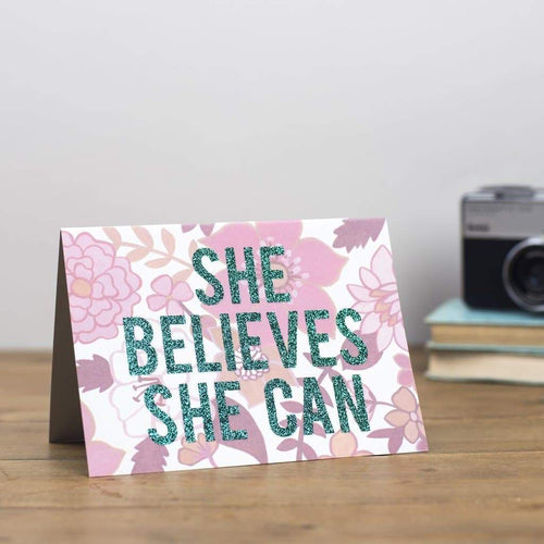 'She Believes She Can' Pink Retro Floral Print Glitter Card - Cards - Encouragement - Spiffy
