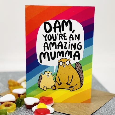 Dam You're Amazing Mumma Greetings Card by Katie Abey - Spiffy