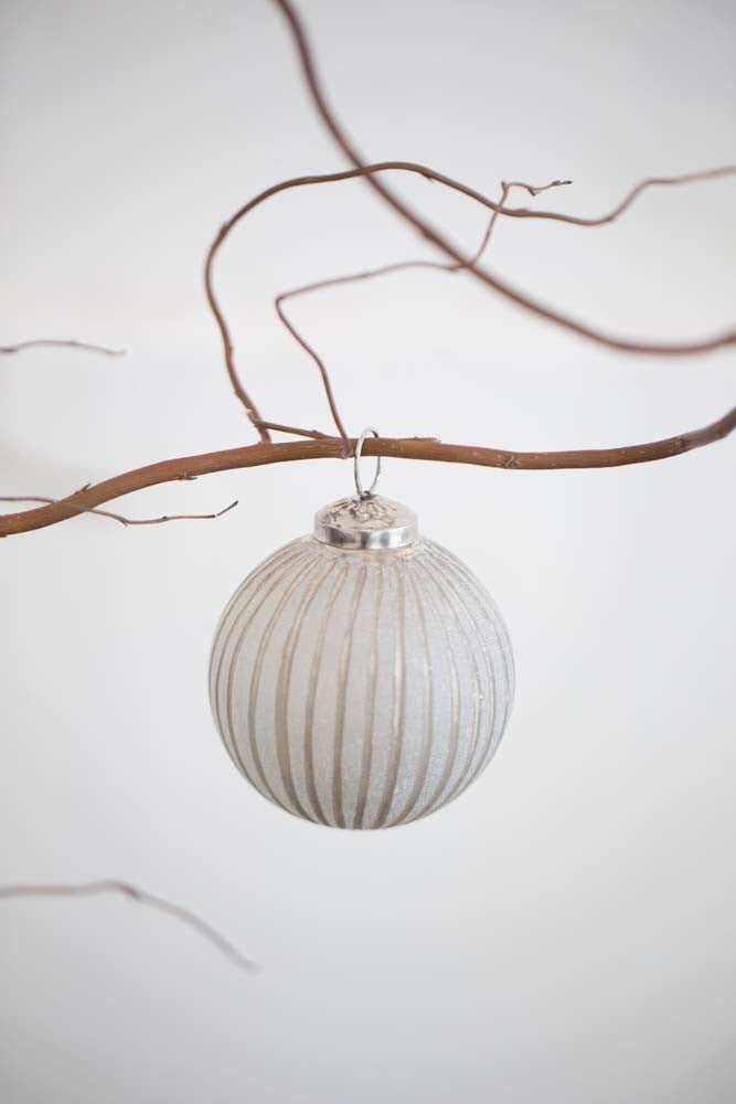 Stripe Glass Frosted Bauble - Christmas - Spiffy