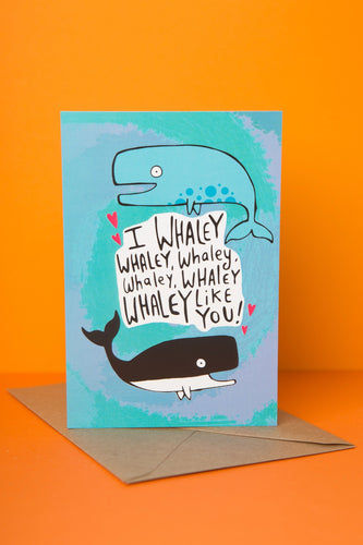 I Whaley Like You - Greeting Card by Katie Abey - Cards - Love and Romance - Spiffy