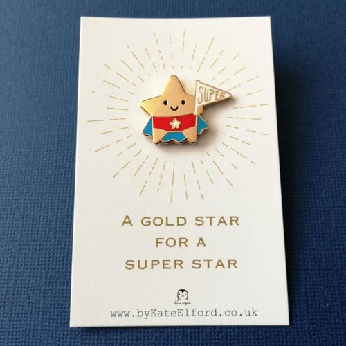Gold Star for a Super Star Enamel Pin