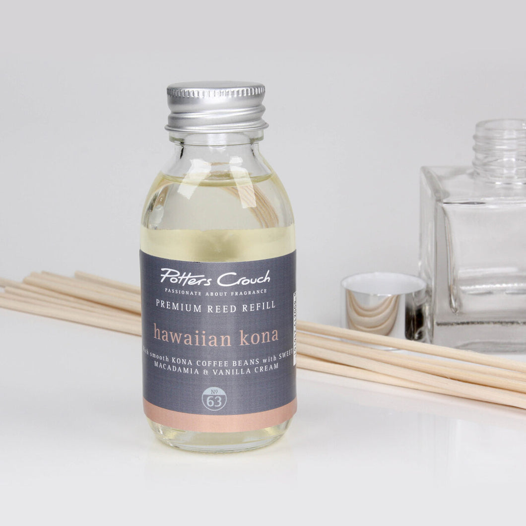 Potters Crouch Hawaiian Kona Luxury Reed Diffuser Refill (100ml) - Reed Diffuser Refills - Spiffy