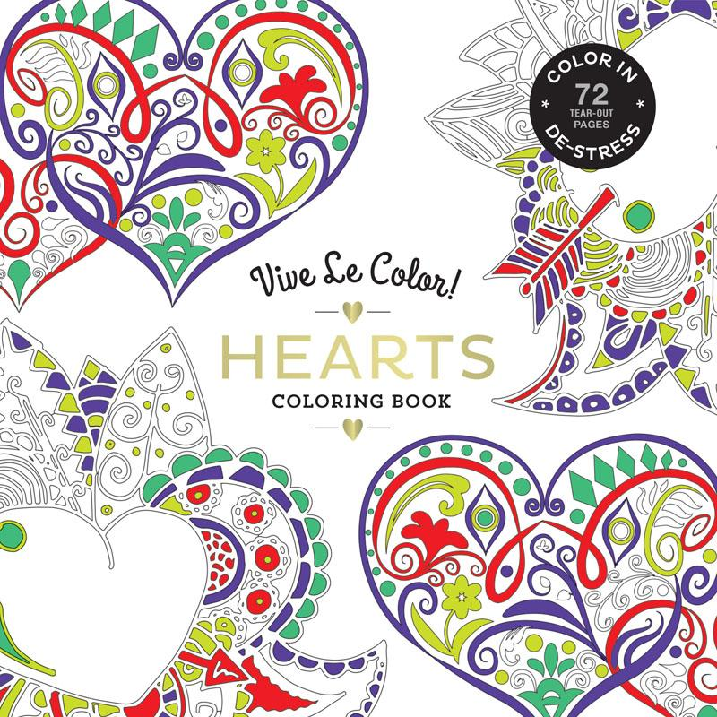 Vive Le Color! Hearts (Adult Colouring Book) - Colouring Books - Spiffy