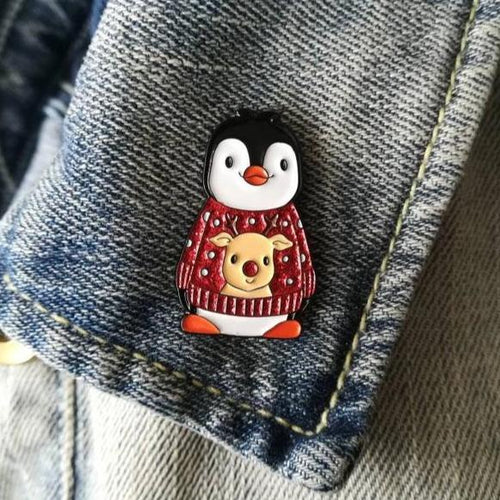 Christmas Jumper Penguin Enamel Pin - Red Jumper