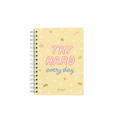 A5 Notebook - Try Hard Every Day - Notebooks - Spiffy