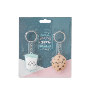 Set of 2 Keyrings - Milk and Cookies - Keyrings - Spiffy