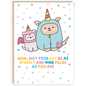 Sparkly Wine Filled Mum Greetings Card - Cards - Happy Birthday - Spiffy