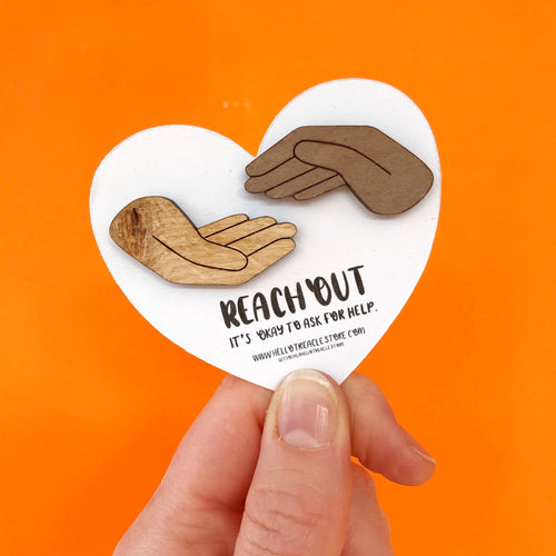 Reach Out Wooden Pins - Enamel Pins - Spiffy