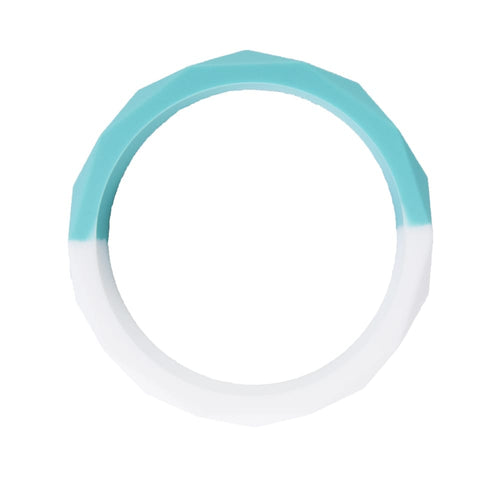 Chewable Bangle - Turquoise and White - Sensory Toys - Spiffy