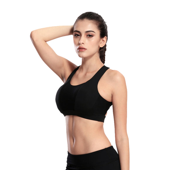 Solid Cross Strap Workout Bra - LoveTheVictory